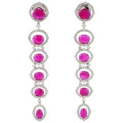 Ruby Diamond 18 Karat Gold Earrings