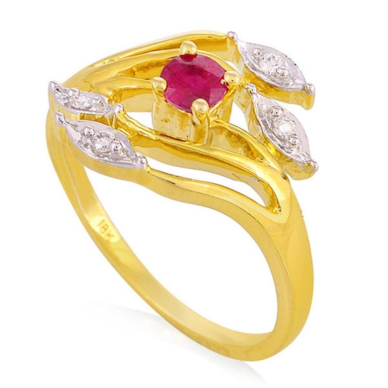 Contemporary Ruby Diamond 18 Karat Gold Eternity Ring For Sale
