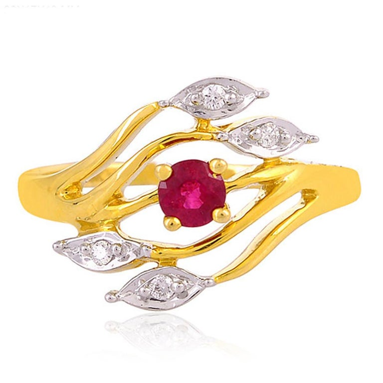 Marquise Cut Ruby Diamond 18 Karat Gold Eternity Ring For Sale