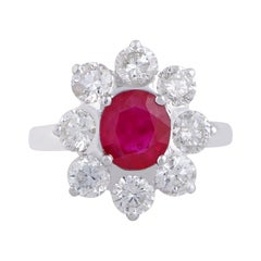 Ruby Diamond 18 Karat Gold Floral Ring