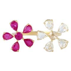 Ruby Diamond 18 Karat Gold Floral Open Ring
