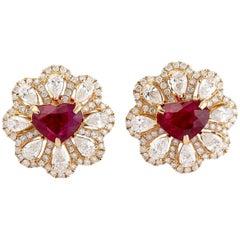 Ruby Diamond 18 Karat Gold Flower Heart Stud Earrings