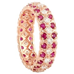 Ruby Diamond 18 Karat Gold Heart Eternity Ring
