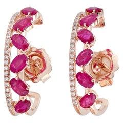 Ruby Diamond 18 Karat Gold Hoop Earrings