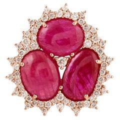 Ruby Diamond 18 Karat Gold Ring