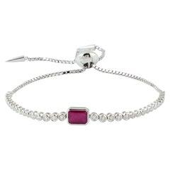 Ruby Diamond 18 Karat Gold Slider Tennis Bracelet