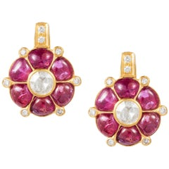 Manpriya B Ruby, Diamond, 18 Karat Gold Small Clover Stud Earrings