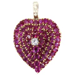 Ruby Diamond 18 Karat Heart Pendant Brooch