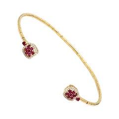 Ruby Diamond 18 Karat Yellow Gold Cuff Bracelet