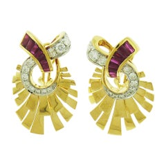 Ruby Diamond 18 Karat Yellow Gold Earrings