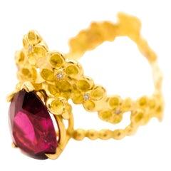 Ruby Diamond 18 Karat Yellow Gold Ring