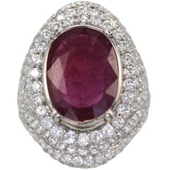 Ruby Diamond 18K White Gold Cocktail Ring 4.58 Carat Ruby 4.02 Carats Diamonds