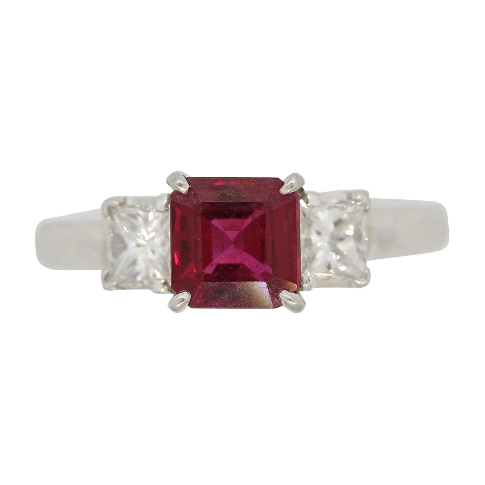 Ruby Diamond 3-Stone Platinum Ring