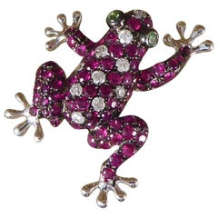 Ruby, Diamond Adorned Frog 18 Carat White Gold Brooch Pendant