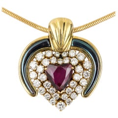 Ruby, Diamond and Blue Enamel 18 Karat Yellow Gold Heart Pendant
