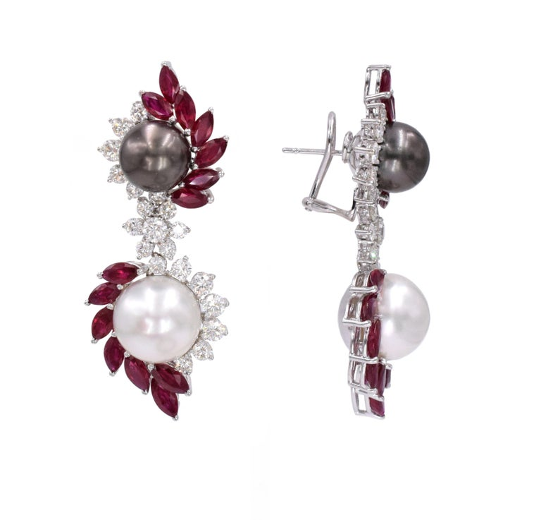 Ruby, Diamond, and Cultured Pearl Earrings Set For Sale 4