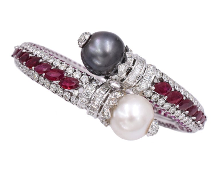 Artist Ruby, Diamond, and Cultured Pearl Earrings Set For Sale