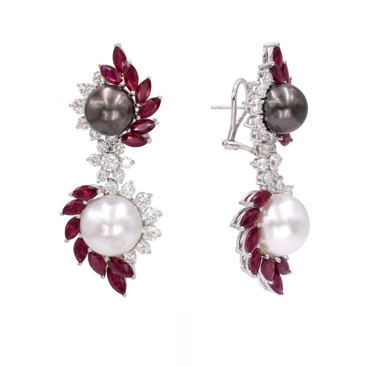 Marquise Cut Ruby, Diamond, and Cultured Pearl Earrings Set For Sale