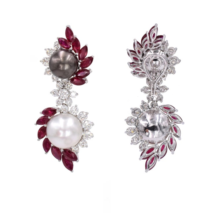Women's Ruby, Diamond, and Cultured Pearl Earrings Set For Sale