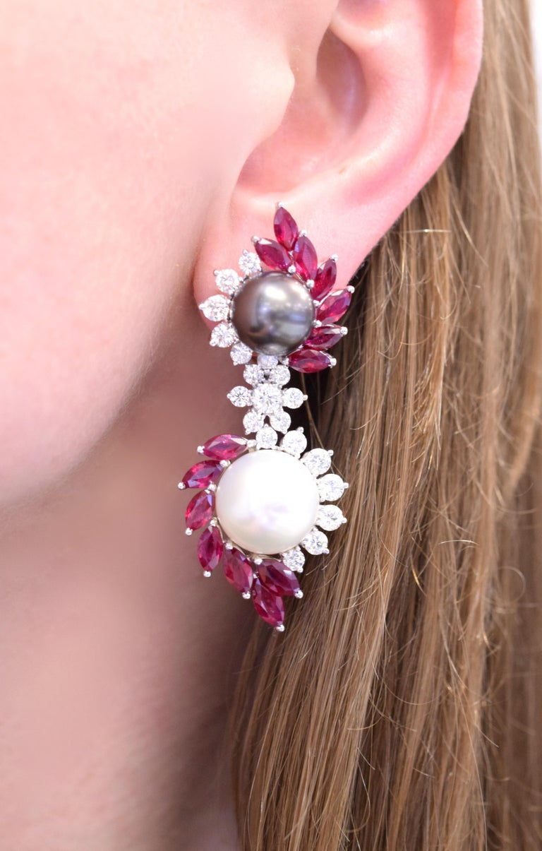 Ruby, Diamond, and Cultured Pearl Earrings Set For Sale 3