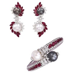 Ruby, Diamond, and Cultured Pearl Earrings Set