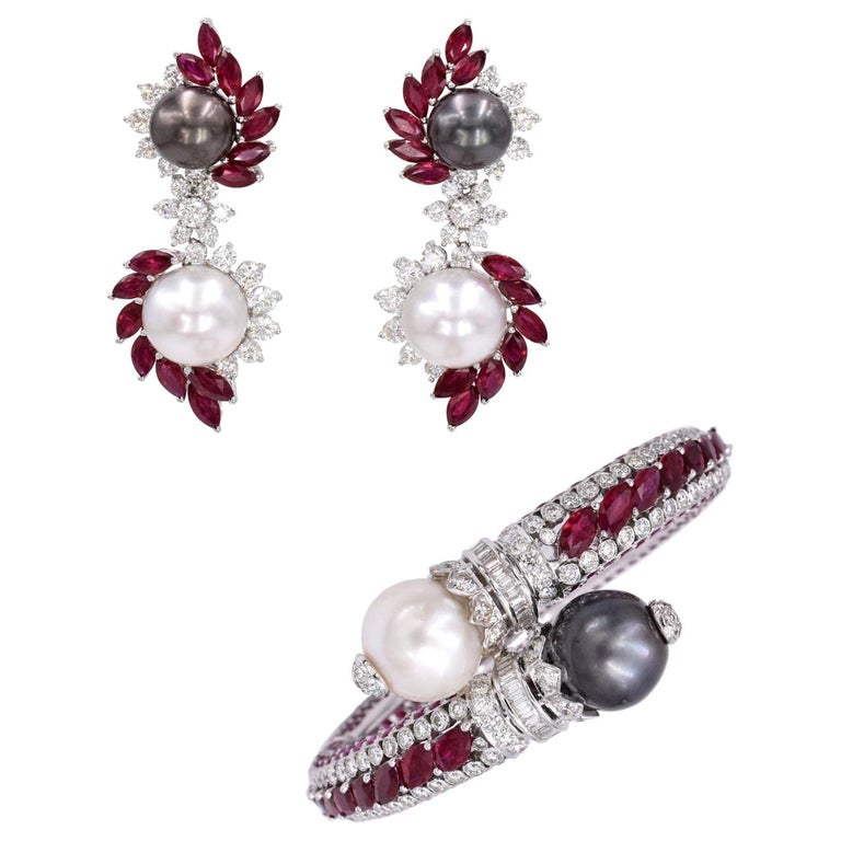 Ruby, Diamond, and Cultured Pearl Earrings Set For Sale