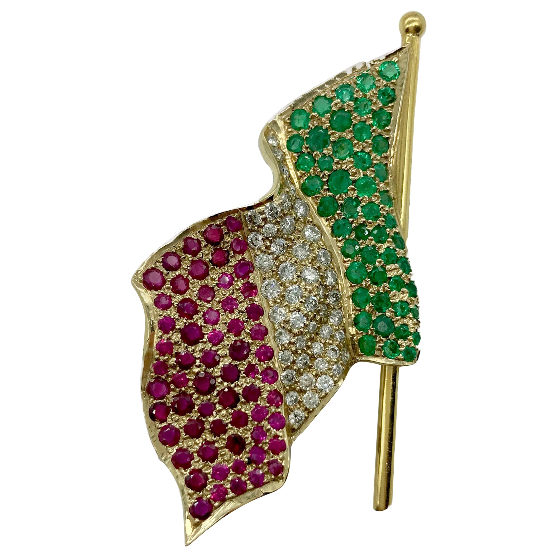 Ruby, Diamond, and Emerald Italian Flag Brooch