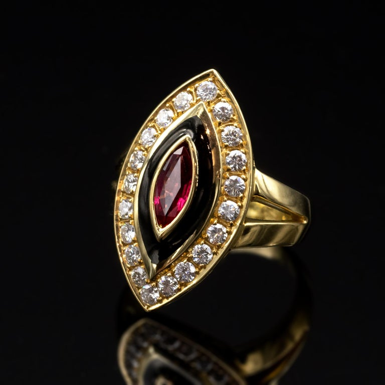 Modern Ruby Diamond and Enamel Gold Marquise Ring For Sale