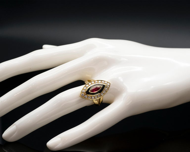 Ruby Diamond and Enamel Gold Marquise Ring In New Condition For Sale In Monte Carlo, MC