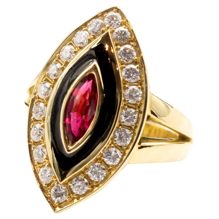 Ruby Diamond and Enamel Gold Marquise Ring For Sale