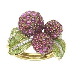 Ruby, Diamond and Enamel Raspberry Ring