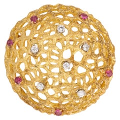 Ruby Diamond and Gold Brooch
