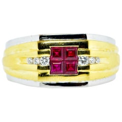 Ruby, Diamond and Gold Vintage Ring, circa 1960