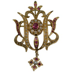 Ruby, Diamond, and Pearl, 14 Karat Gold Brooch-Pendant