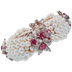 Ruby Diamond and Pearls Gold Vintage Bracelet