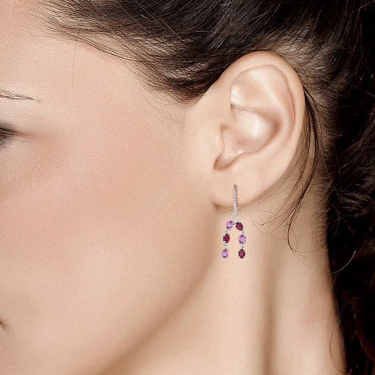 Contemporary OGI Ruby Diamond and Pink Sapphire White Gold Drop Dangle Hoop Earrings For Sale