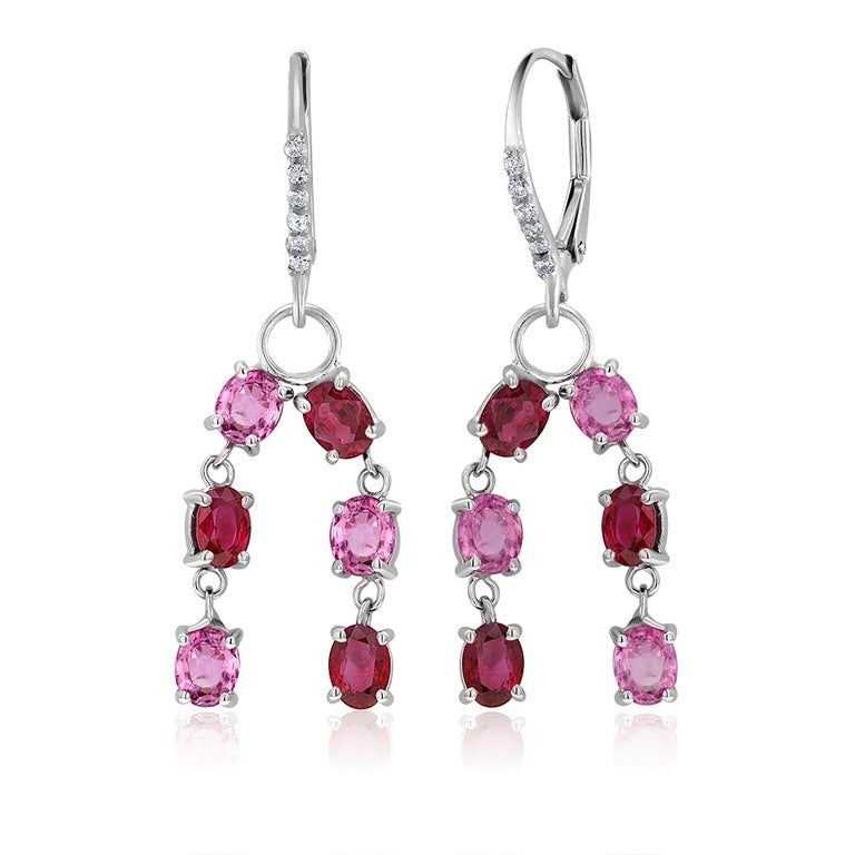 Oval Cut OGI Ruby Diamond and Pink Sapphire White Gold Drop Dangle Hoop Earrings For Sale