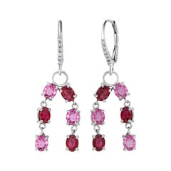 OGI Ruby Diamond and Pink Sapphire White Gold Drop Dangle Hoop Earrings