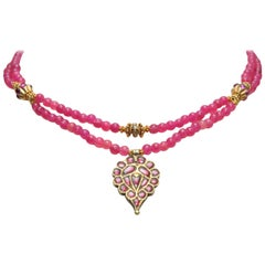 Ruby, Diamond and Pink Spinel 22 Karat Gold Pendant Necklace