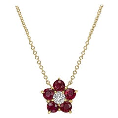 "Ruby & Diamond ""Astra"" Cluster Pendant"
