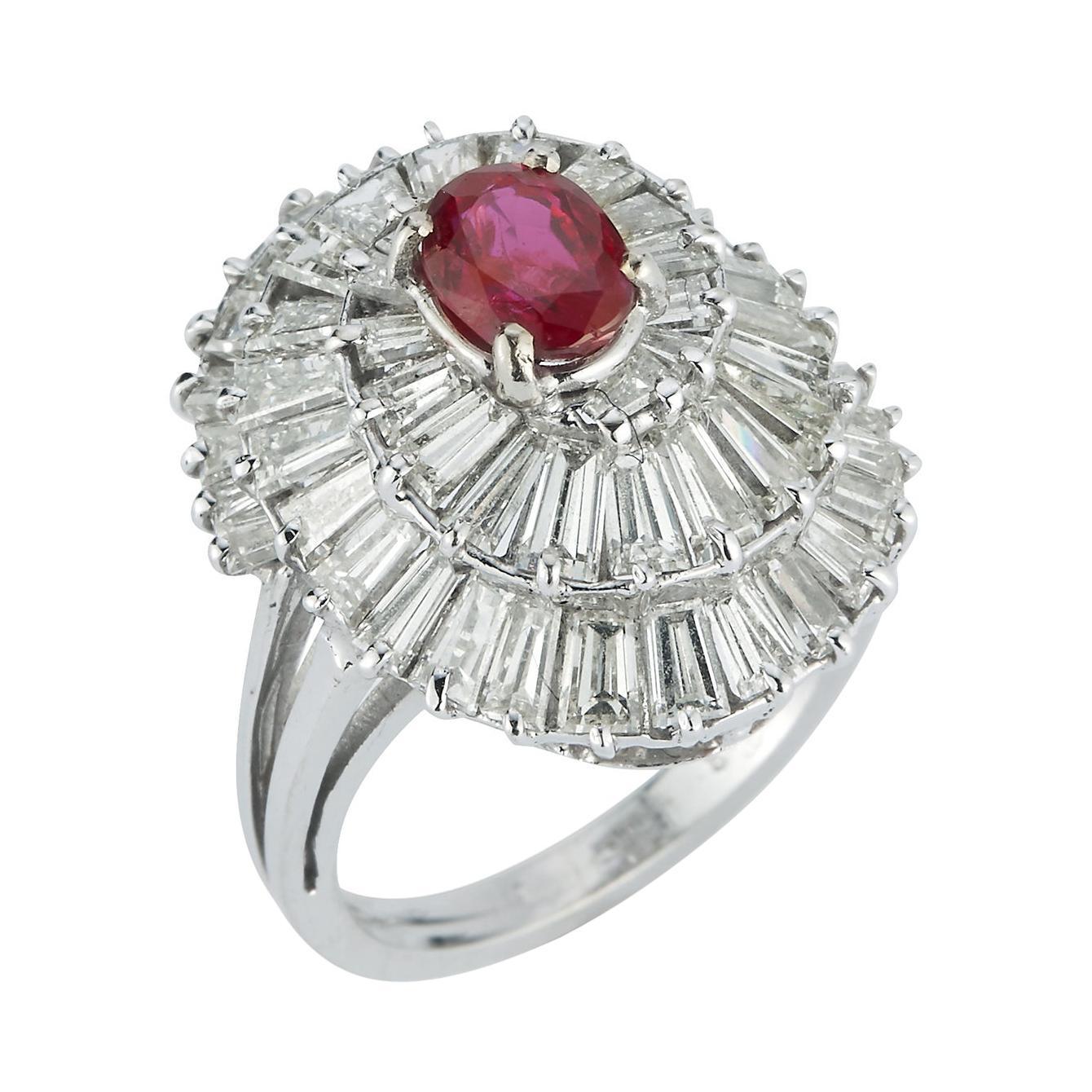 Ruby & Diamond Ballerina Cocktail Ring