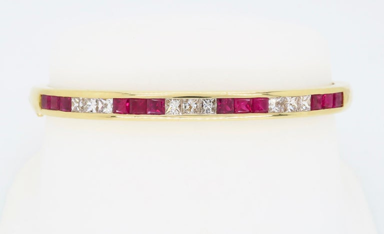 Ruby and Diamond Bangle Bracelet in 18 Karat Yellow Gold For Sale 7