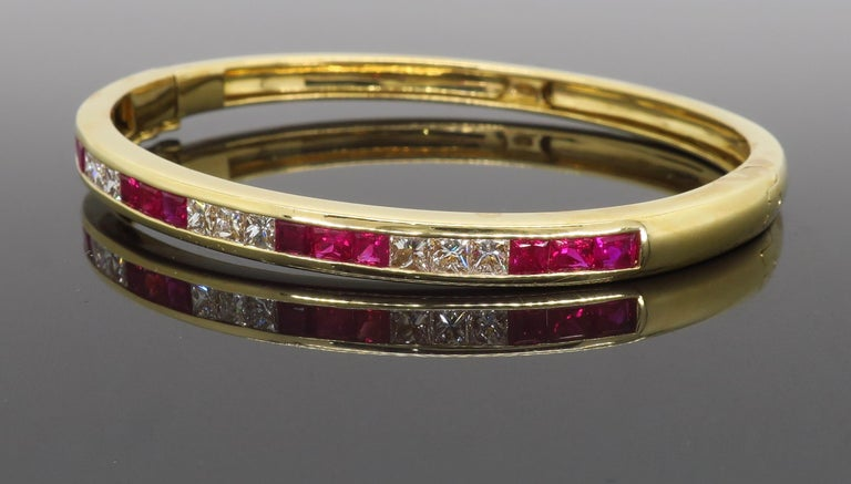Ruby and Diamond Bangle Bracelet in 18 Karat Yellow Gold For Sale 1