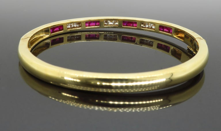 Ruby and Diamond Bangle Bracelet in 18 Karat Yellow Gold For Sale 2