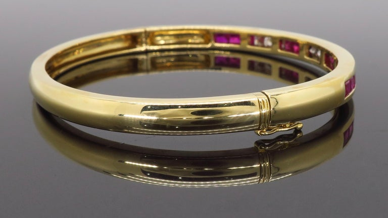 Ruby and Diamond Bangle Bracelet in 18 Karat Yellow Gold For Sale 3