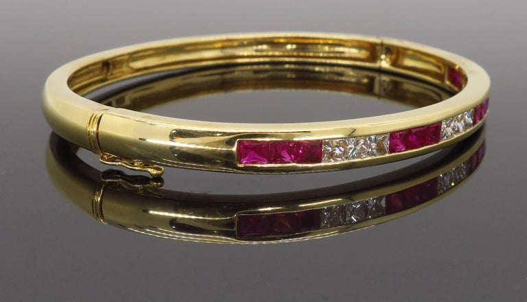 Ruby and Diamond Bangle Bracelet in 18 Karat Yellow Gold For Sale 4