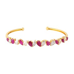 Ruby Diamond Bangle in 18k Yellow Gold