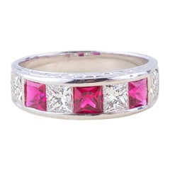 Ruby Diamond Baquettes Ring in White Gold