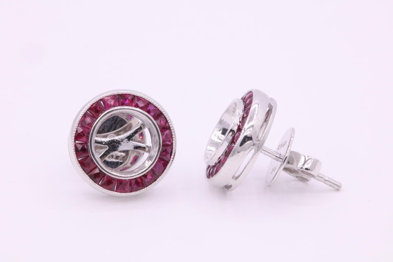 Art Deco Ruby Diamond Bezel Set Earring 1.20 Carat Platinum For Sale