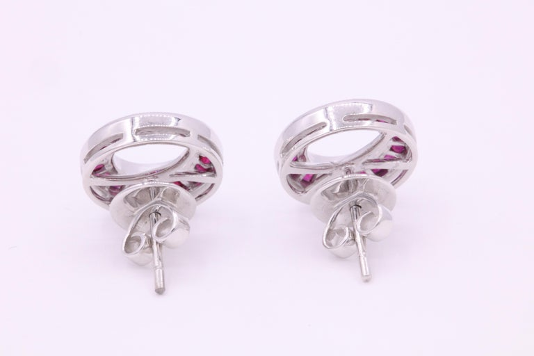 Ruby Diamond Bezel Set Earring 1.20 Carat Platinum In New Condition For Sale In New York, NY